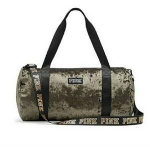 Olive green velvet gym bag